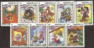Anguilla - 1983 Disney Characters in Christmas Scenes - 9 Stamp Set #547-55