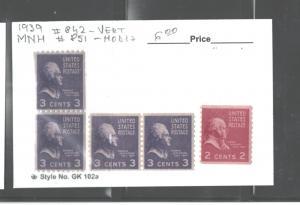 USA 1939 COIL PAIRS #842 (Vert) & #851 (Horiz) & #850 MNH