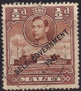 Malta 1948 - 53 KGV1 1/2d Red Brown Self Government Ovpt SG 235 (J1488 )