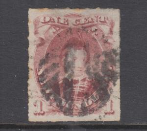 Newfoundland Sc 37 used. 1877 1c brown lilac Edward VII, rouletted, sound