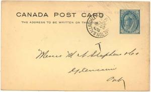 Canada - 1899 QV Card w. HAMILTON + ALLANDALE RPO
