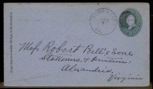 Virginia 1889 Rock House VA DPO Closed 1895 Cancel Helbock R6 Cover 92430