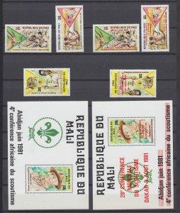 Z4072, 1981 mali sets + s/s mnh #425-8 +429-32 same ovpt set scouts
