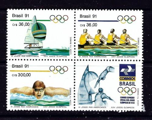 Brazil 2308a NH 1991 Olympics Block of 4