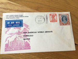 Pan American World Airways Calcutta to Hawaii 1947 stamps cover Ref 57001