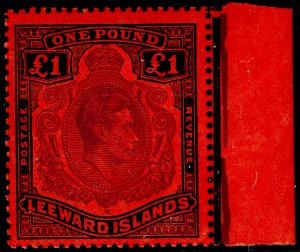 LEEWARD ISLANDS SG114c, £1 brown-purple & blk/red, NH MINT. Cat £35.