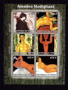 Chad 2002 Amadeo Modigliani mini-sheet of 6 NH
