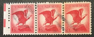 C67, Red Eagle, Circ. strip, tagged, Vic's Stamp Stash