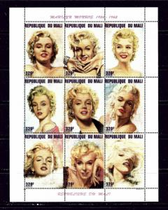 Mali 791 MNH 1996 Marilyn Monroe sheet of 9