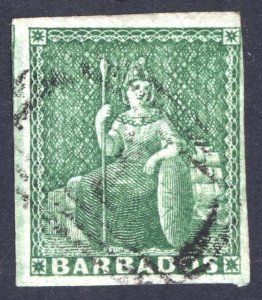 Barbados 1857 1/2d Yellow Green SG 7, Scott 5a, VFU Cat £110($145)