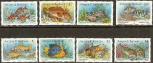 Barbuda 1990 Scott 1123-30 Fish O/P MNH