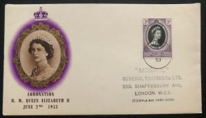 1953 St Helena First Day Cover QE2 Queen Elizabeth coronation To London UK