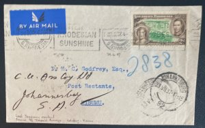 1937 Salisbury Southern Rhodesia First Flight Cover To Johannesburg South Africa