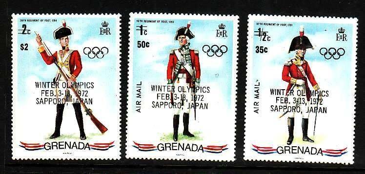 Grenada-Sc#439,C1-2- id5-unusedNH set-Military-Uniforms-Winter Olympics-Sports
