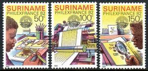 Surinam 600-602, MNH. PHILEXFRANCE. Stamp designing, printing, collecting, 1982