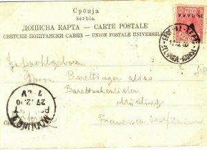 SERBIA Card Belgrade Modliny? 10 Para Overprint 1900 {samwells-covers} ST2