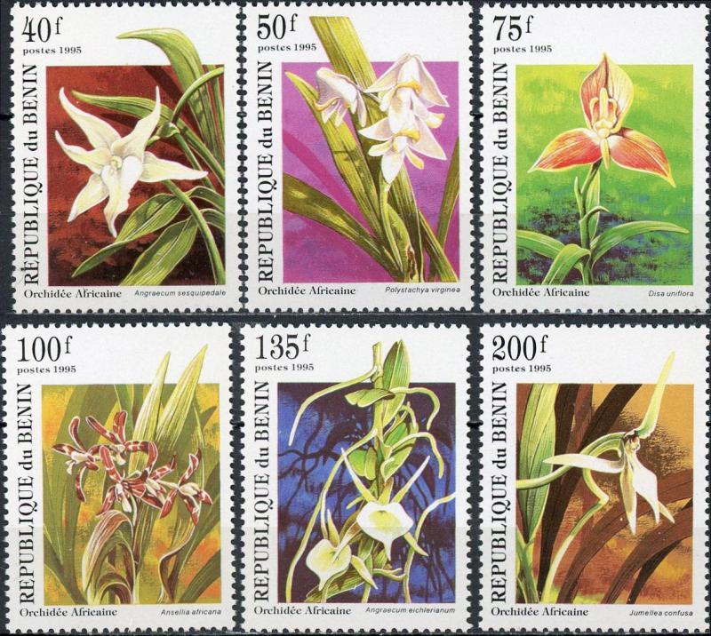 Benin MNH 795-800 Orchids Flowers