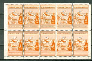 PORTO RICO 1938  SEMI-OFFICIALS SANABRIA #S4...SHEET of 10...MNH