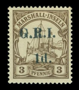 German Colonies - NEW BRITAIN G.R.I. Marshall Is 1d/3pf brown Sc# 30 mint MH VF