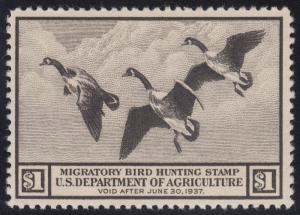 #RW4 $1 DUCK STAMP FINE TO VERY FINE NH WITH WRINKLE CV $275 AU298