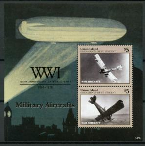 Union Island Gren St Vincent 2014 MNH WWI WW1 Military Aircrafts 2v S/S Stamps