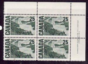 Canada-Sc#465-Unused NH 25c Solemn Land Centennial-UR plate block #1-Dex gum-196
