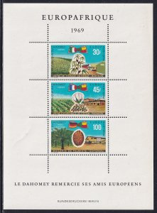 Dahomey 1969 Sc C105a Ambary Cotton Oil Palm Industry Europafrica SS Stamp MNH