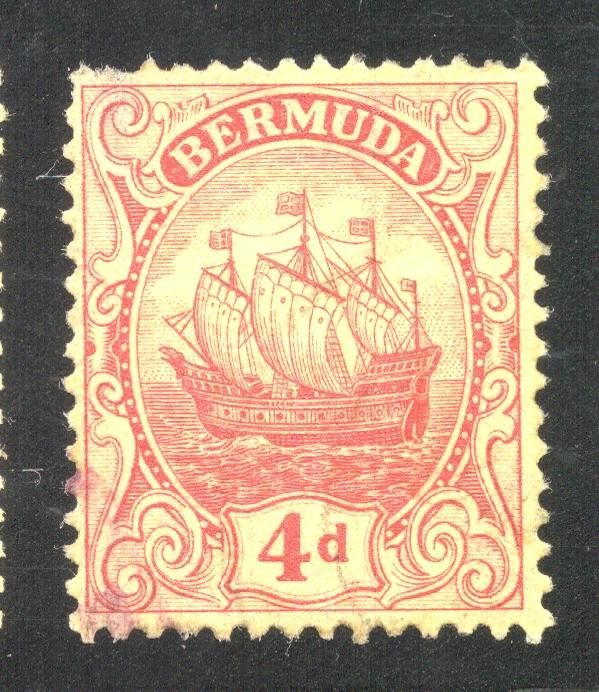 Bermuda #90 Red on Yellow Paper - Used