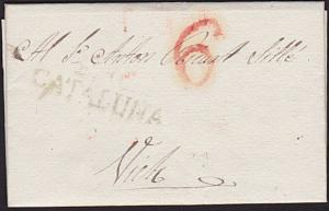 SPAIN 1832 folded entire handstruck 6 and s/line CATALUNA..................7355