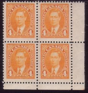 CANADA 1937-38 GVI 4c yellow corner block of 4 MNH.........................43833