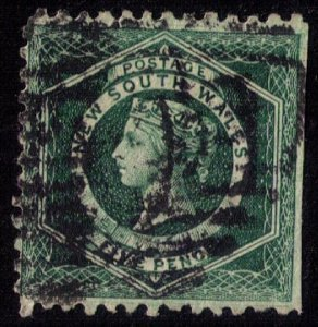 New South Wales #65c Used Green Perf 10 F-VF
