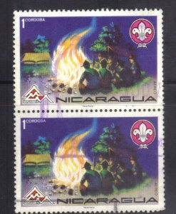 NICARAGUA SC# C882  *USED*  1c 1975 CONN PAIR SCOUTING SEE SCAN