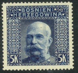 BOSNIA AND HERZEGOVINA 1906 5K FRANZ JOSEPH P. 9 1/4 Sc 45a MNH