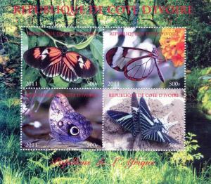 Ivory Coast 2011 Butterflies of Africa  Shlt(4)Perf.MNH