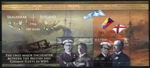 ISLE OF MAN   2016 SKAGERRAK JUTLAND NAVAL BATTLE WORLD WAR I  SHEET   MINT NH
