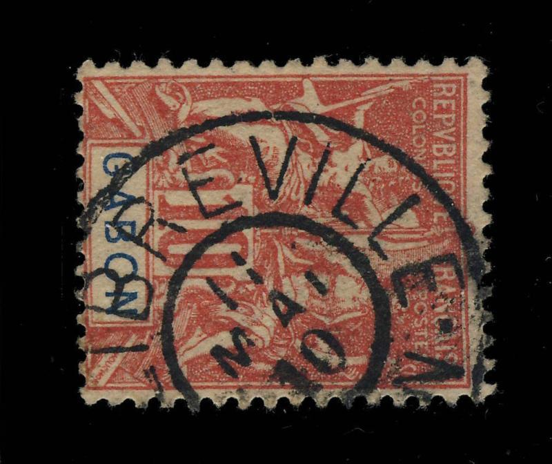 GABON - 1910 - CACHET 2-CERCLES PLEINS  LIBREVILLE / GABON  SUR N°20 10c ROUGE