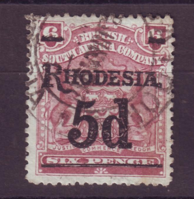 J17072 JLstamps 1909 rhodesia used #88 ovpt
