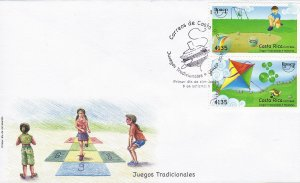 Costa Rica UPAEP Traditional Kids Games, Marbles, Kite, Sc 631 FDC 2009