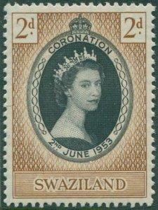 Swaziland 1953 SG52 2d black and brown Coronation QEII MNH