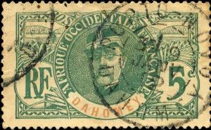 DAHOMEY - 1912 - CACHET À DATE DE PORTO-NOVO SUR 5c FAIDHERBE