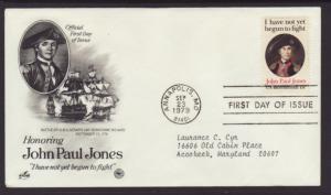 US John Paul Jones 1979 PCS Typed FDC BIN