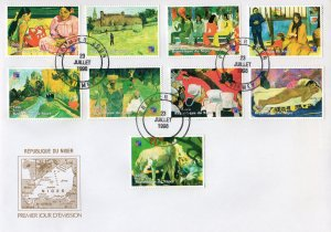 Niger 1998 YT#1293/1301 PAUL GAUGUIN PAINTINGS Set  (9) Perforated FDC