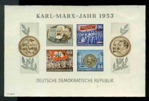 DDR Scott #146a Karl Marx  Imperf Souvenir Sheet Mint No Gum  Cats $100