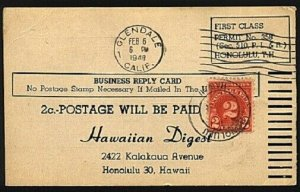 HAWAII 1949 2c postage due cancelled Honolulu on business reply card.......94096