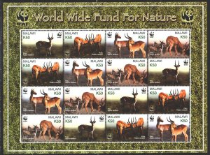 Malawi. 2003. Small sheet 721-24. Antelopes, WWF. MNH.