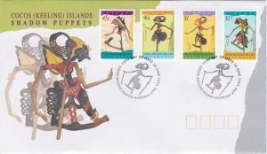 Cocos Islands # 293-296, Puppets, First Day Cover