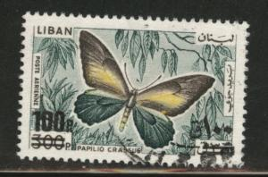 LEBANON Scott C654 used 1972 surcharged butterfly  airmail