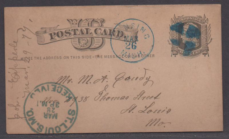 **US 19th Century Postal Stationery Cover, SC# UX5, FC, Lansing, MI To St. Louis