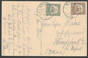 NAURU 1914 postcard 5pf & 3pf Marshall Is with fine NAURU cds...............M595