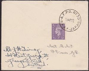 AUSTRALIA FORCES IN JAPAN 1950 cover GB 3d AFPO No.30 RAAF JAPAN............6406